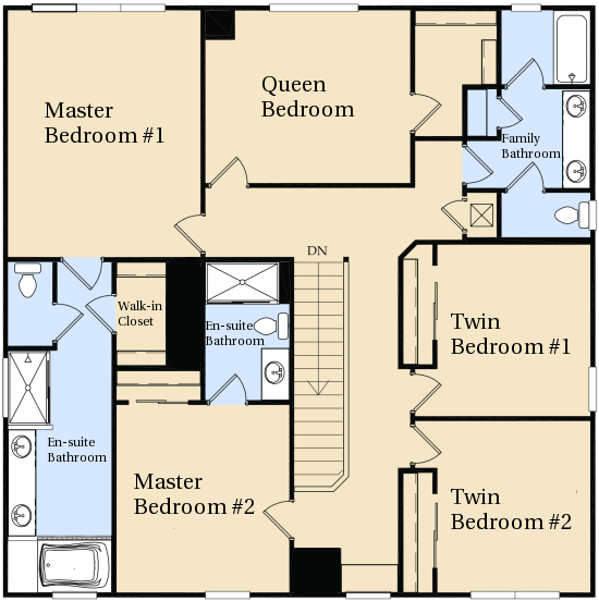 Windsor hills kissimmee villa floor plan for Upstairs floor plans